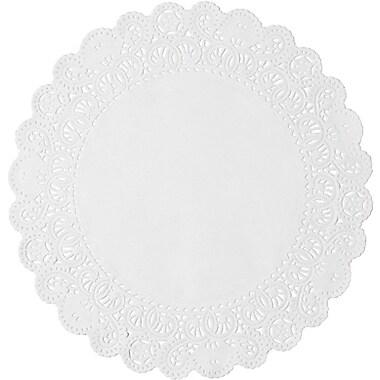Lapaco – Napperon rond Normandy en papier dentelle fleurie, 14 po, blanc