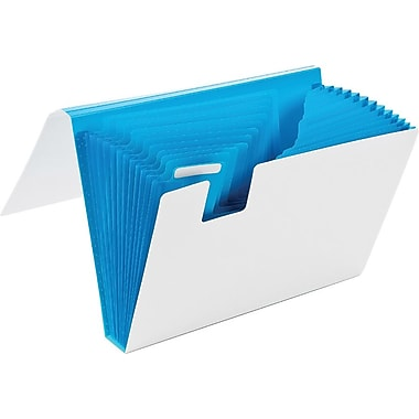 Poppin White + Pool Blue 13-Pocket Accordion File