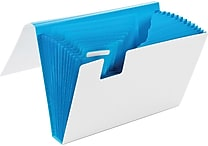 Poppin White + Pool Blue 13-Pocket Accordion File