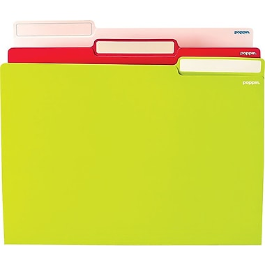 Poppin White/Pink/Lime Letter File Folders, 24/Pack