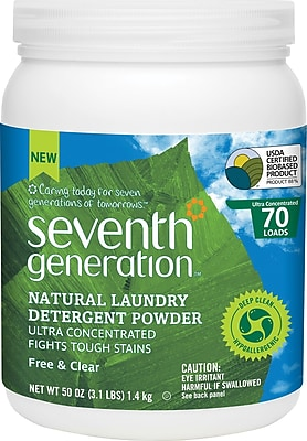 Seventh Generation Natural Laundry Detergent Powder, Free and Clear 50 oz. (SEV 22905)
