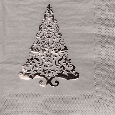 Creative Converting 3-Ply Beverage Napkins with Christmas Tree Design, 16/Pack
