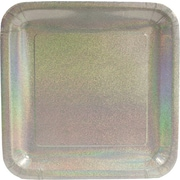 "Creative Converting Glitz Silver 10"" Square Banquet Plates, 8/Pack"