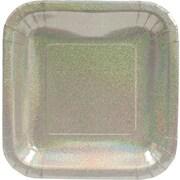 "Creative Converting Glitz Silver 7"" Square Luncheon Plates, 8/Pack"