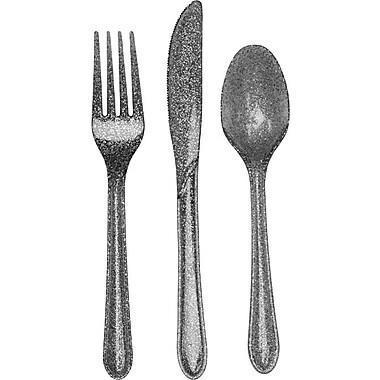 Creative Converting Glitz Silver Glitter Assorted Cutlery, 24/Pack