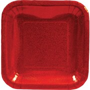 """Creative Converting Glitz Red 7"""" Square Luncheon Plates, 8/Pack"""