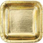 "Creative Converting Glitz Gold 10"" Square Banquet Plates, 8/Pack"