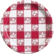 "Creative Converting Red Gingham 10"" Round Banquet Plates, 8/Pack"
