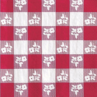 Creative Converting Red Gingham Beverage Napkins, 18/Pack