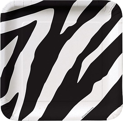 """""Creative Converting Zebra 7"""""""" Square Luncheon Plates, 8/Pack"""""" 1005740"