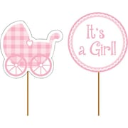 "Creative Converting 4""W x 11.5""H Cupcake Picks - Baby Girl"