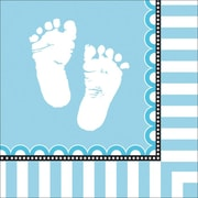 Creative Converting Sweet Baby Feet Blue 3-Ply Luncheon Napkins, 16/Pack