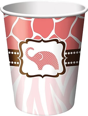 Creative Converting Wild Safari Pink 9 oz. Hot/Cold Drink Cups, 8/Pack 1005811