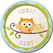 """Creative Converting Paper Happi Tree Sweet Baby Boy Round Luncheon Plates, 7"""", 8 Pack (419128)"""
