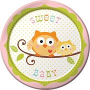 "Creative Converting Happi Tree Sweet Baby Girl 7"" Round Luncheon Plates, 8/Pack"