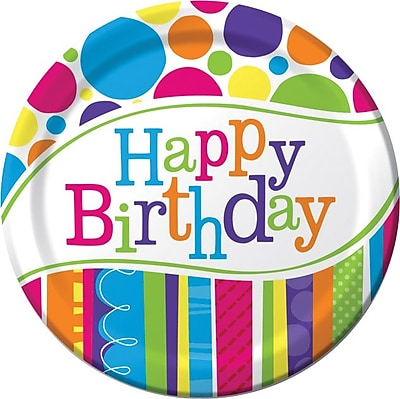 """Image of """"""""""""Creative Converting Bright and Bold Happy Birthday 9"""""""""""""""" Round Dinner Plates, 8/Pack"""""""""""""""