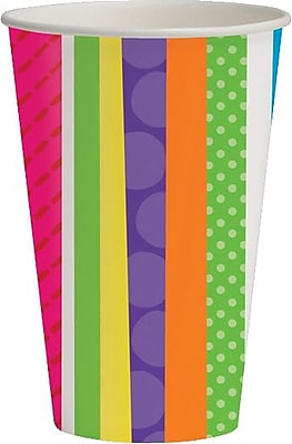Creative Converting Bright and Bold Happy Birthday 9 oz. Hot/Cold Drink Cups, 8/Pack 1005838