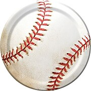 """Creative Converting Paper Baseball 7"""" Round Luncheon Plates, 8 Pack (417963)"""