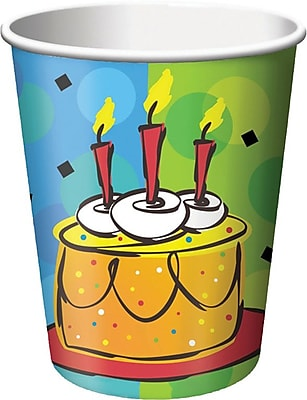 Creative Converting Cake Celebration 9 oz. Hot/Cold Drink Cups, 8/Pack 1005896