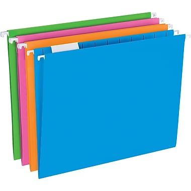 Pendaflex® Glow Poly Hanging Folders, 5 Tab Positions, Letter Size, Assorted Glow Colors, 12/Pack (81673)