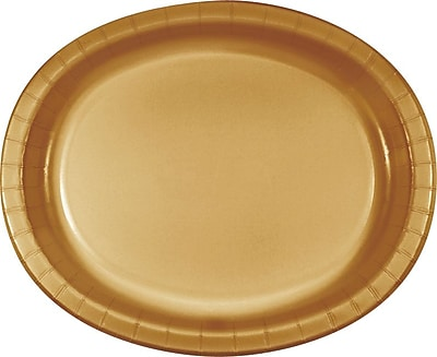 Creative Converting Glittering Gold Oval Platters, 8/Pack