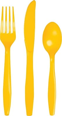 Creative Converting School Bus Yellow Assorted Cutlery, 24/Pack