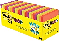 Post-it® Super Sticky Notes Cabinet Pack, Marrakesh Colors, 3' x 3', 24/pack