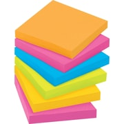 "Post-it® Super Sticky Notes, 3"" x 3"", Rio De Janeiro Collection, 12 Pads/Pack (65412SSUC)"