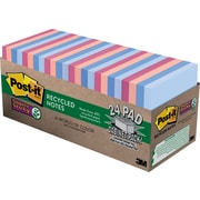 """Post-it® Super Sticky Notes, 3"""" x 3"""", Bali Collection, Recycled, 24 Pads/Pack (65424NHCP)"""