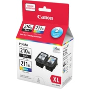 Canon® PG-210XL/CL-211XL Black/Colour Ink Cartridges, High Yield, Value Pack