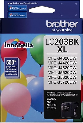 Brother (LC203BK) Black Ink Cartridge, High Yield