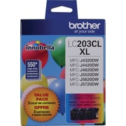 Brother LC203 Color C/M/Y High-Yield Ink Cartridges, 3/Pack (LC2033PKS)