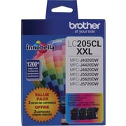 Brother LC205 TriColour Ink Cartridges, 3/Pack (LC2053PKS)
