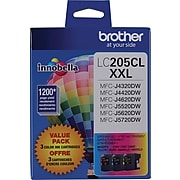 Brother LC2053PKS Cyan/Magenta/Yellow Extra High Yield Ink Cartridge, 3/Pack