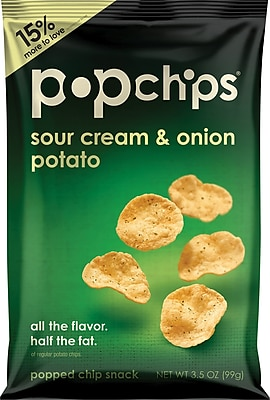 Popchips™, Sour Cream & Onion, 3.5 oz., 12 Bags/Box