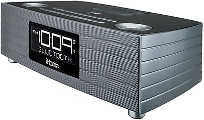 iHome iBN97 Bluetooth Stereo FM Clock Radio with USB Charging Port, Gray
