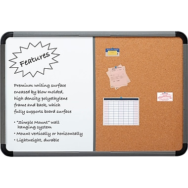 Combo Dry Erase/Cork Board, Blow Mold Frame, 66