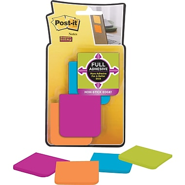 Post-it® - Feuillets adhésifs Super Sticky de bord à bord, Collection Rio de Janeiro, 2 po x 2 po, bloc/25 feuilles, paq./8