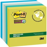 "Post-it® Super Sticky Recycled Notes, Bora Bora Collection, 3"" x 3"", 90 Sheets/Pad, 5/Pack"