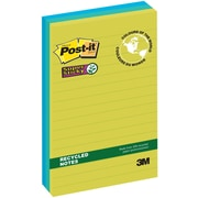 Post-it® - Feuillets adhésifs Super Sticky, Collection Bora Bora, recyclés, 4 po x 4 po, bloc/90 feuilles, paq./3
