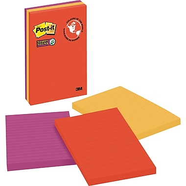 Post-it® - Feuillets adhésifs réglés Super Sticky, Collection Marrakesh, 4 po x 6 po, bloc/90 feuilles, paq./3