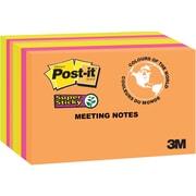 Post-it® - Feuillets adhésifs de réunion Super Sticky, Collection Rio de Janeiro, 6 po x 4 po, bloc/45 feuilles, paq./8