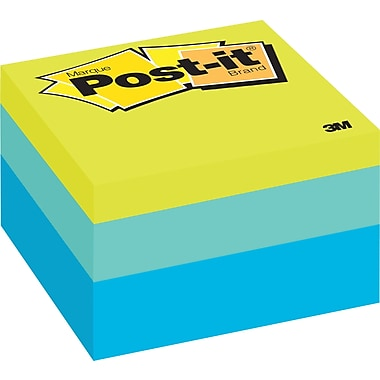 Post-it® Notes Cube, Blue Wave, 3