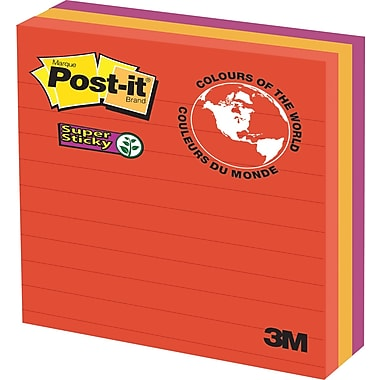 Post-it® Super Sticky Notes, Marrakesh Collection, Lined, 4