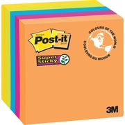 Post-it® - Feuillets adhésifs Super Sticky, Collection Rio de Janeiro, 3 po x 3 po, bloc/90 feuilles, paq./5