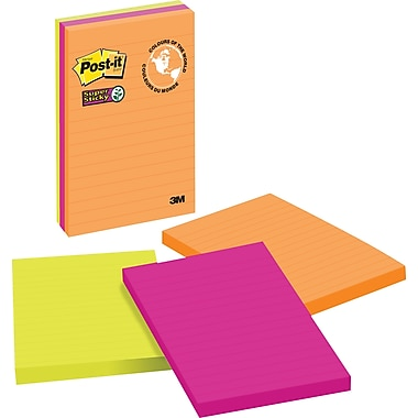Post-it® - Feuillets adhésifs Super Sticky, Collection Rio de Janeiro, 4 po x 6 po, bloc/90 feuilles, paq./3