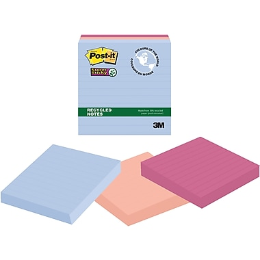 Post-it® Super Sticky Recycled Notes, Bali Collection, Lined, 4