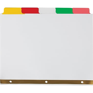 Staples Write-On™ BIG TAB Dividers, 5-Tab Set, Color Tabs, 4/Pack (13509)