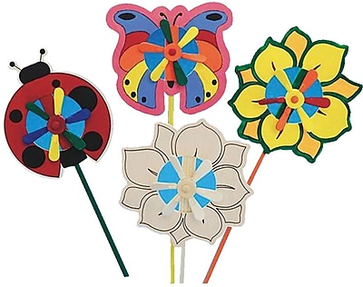 Craft EXpress Butterfly, Flower and Ladybug Pinwheels Craft Kit, 12/Pack