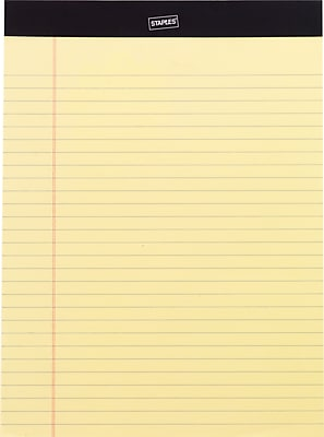 Staples Perforated Canary Writing Pad, 8-1/2